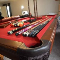 4 x 8 Pool Table With Balls, Cues, Chalk, Stands, Brushes