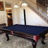 Inlaid Pearl Mahogany Finish Pool Table